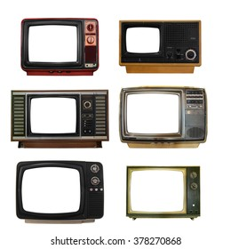 Isolated set of old televisions on white background