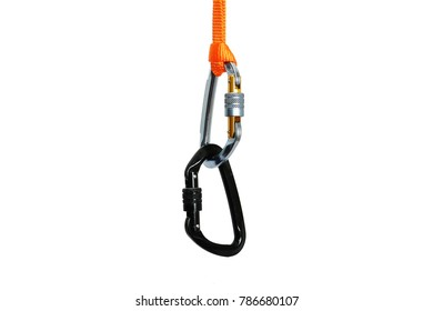 Isolated set of two carabiners  linked together with the locking mechanism off
