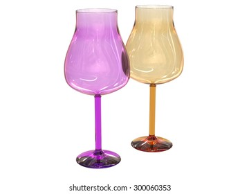 isolated set of two glasses in blue and green