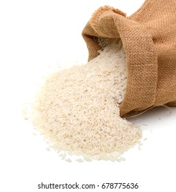Isolated set of white rice in sack