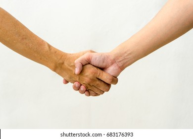 Isolated Shack hands , successful of business or team work with white background