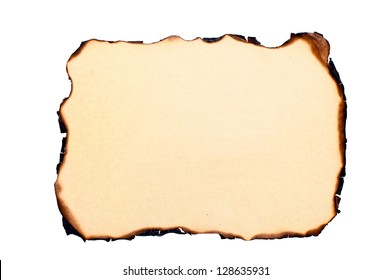 isolated sheet of yellowed burnt paper at white background.