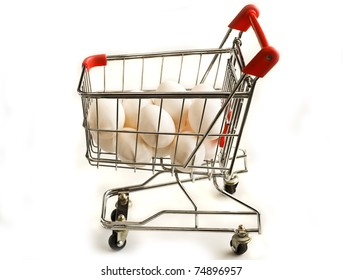 isolated shopping cart with eggs