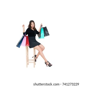 isolated shopping woman holding bags.