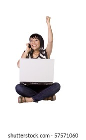Isolated Shot of a Beautiful Asian Girl Working on Her Laptop