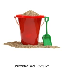 An isolated shot of a bucket of sand for the childrens play time either on vacation, at the beach, or just at home in the sandbox.