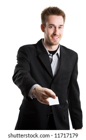 An isolated shot of a businessman handing out his business card