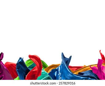 Isolated shot of freeze motion of colored silk, isolated on white background