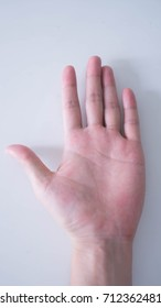 Isolated shot of hand action on white background