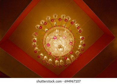 isolated shot of Home interiors Chandelier on ceiling