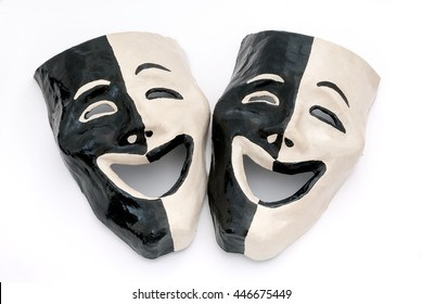 An isolated shot of masks with an expression of happiness