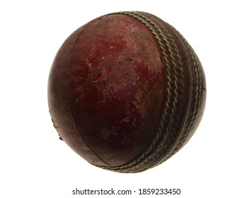 Isolated shot of an Old worn cricket ball