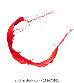 Isolated shot of red paint splash on white background
