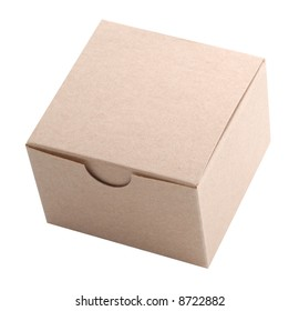 Isolated shot of a small cardboard box.