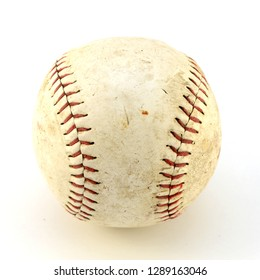 An isolated shot of a softball used in team sports.