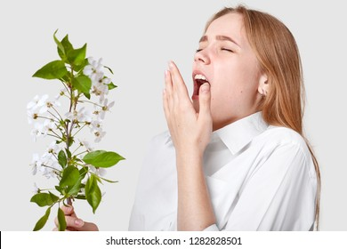 Isolated shot of young cute woman being allergetic to spring blossom, sneezes, keeps mouth widely opened, poses against white background, doesnt like odour. People, sickness and allergy concept