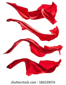 Isolated shots of freeze motion of red satins, isolated on white background