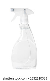 Isolated side view of the clear spray bottle with a clear liquid inside with clipping path.