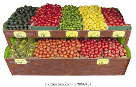 Isolated sidewalk fruit and vegetable stand.
