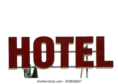 The isolated sign of a hotel on the roof / Hotel