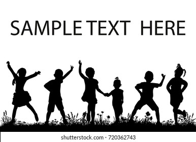 isolated, silhouette of children jumping, sample text