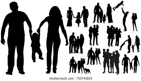 isolated silhouette family, collection silhouettes mom dad and child