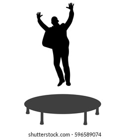 isolated silhouette man in suit jumping on a trampoline