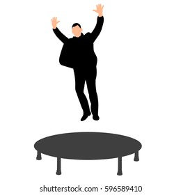 isolated silhouette man in suit jumping on a trampoline fun