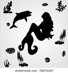 isolated silhouette of a mermaid