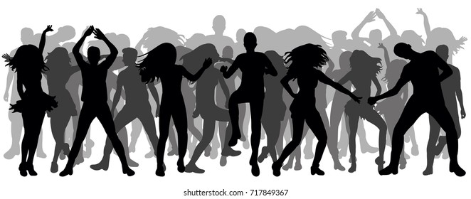 isolated silhouette people dancing, crowd, disco