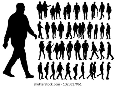 isolated silhouette of walking people set