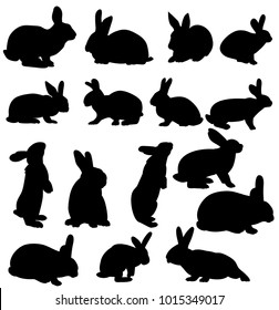 isolated silhouettes of rabbits