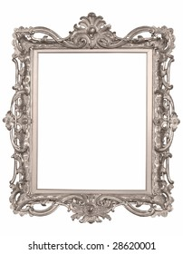 The isolated silver old frame