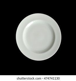 Isolated simple empty white plate on black background.
