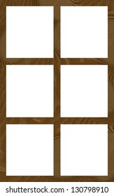 Isolated Single Layered Flat Wooden Six Window Wide Frame