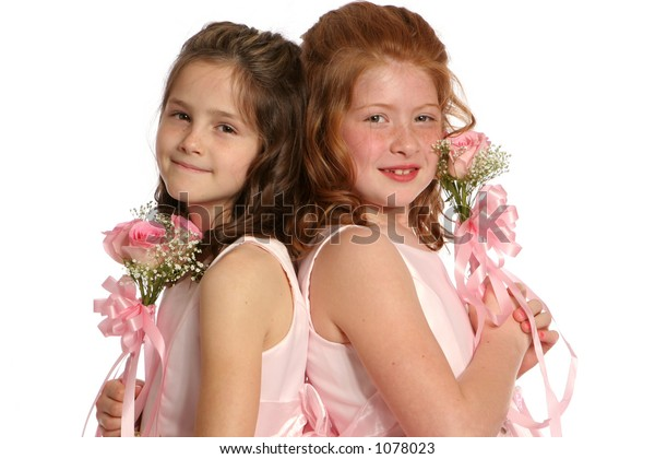 isolated sisters in pink