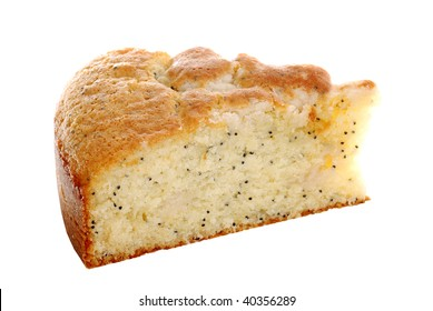 isolated slice lemon poppy seed cake
