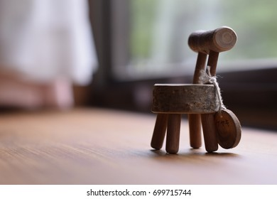Isolated small chair with blurred background; sharp focus