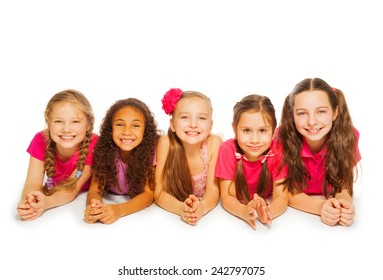 Isolated small girls laying on white background