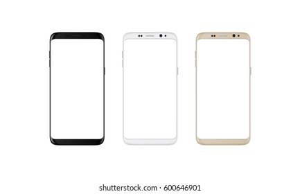 Isolated smart phone with round edges. Black, silver and gold color. Blank screen for mockup.