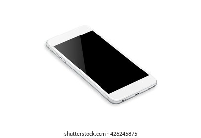 Isolated smart phone with isolated white screen for mockup. Isometric view.