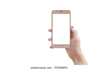 Isolated smart phone in woman hand. Front view. Blank screen for mockup.