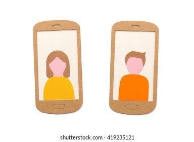 Isolated smart phones with user profile pictures