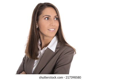 Isolated smiling business woman looking sideways to text.