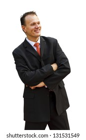 Isolated smiling  businessman front the camera
