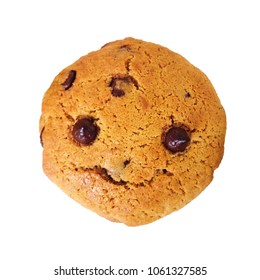 Isolated smiling chocolate chip cookie on white background