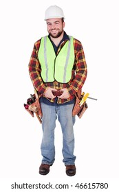 an isolated smiling contractor with tools and tool belt