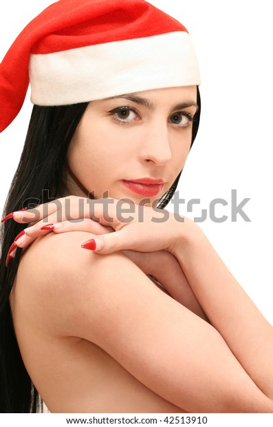 Isolated smiling young christmas woman
