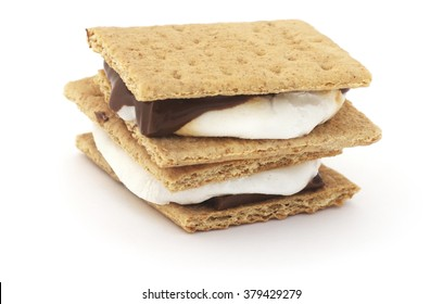 Isolated s'mores chocolate on a white background.