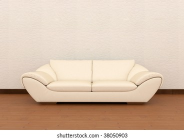 Isolated Sofa in the wood flooring